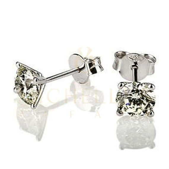 10K Yellow Gold Diamond Studs Small 7.70mm Kite Earrings 0.17 Cttw