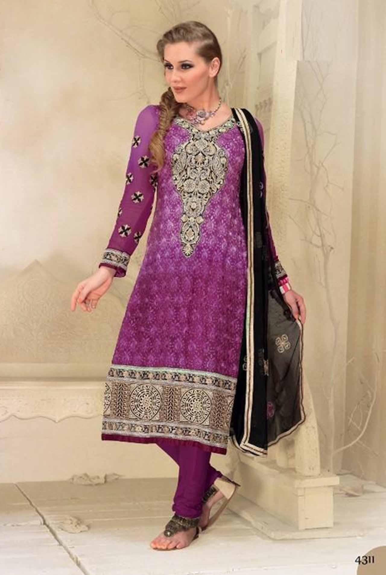 $94.07 Pink Full Sleeve Georgette Knee Length Punjabi Salwar Kameez 18316