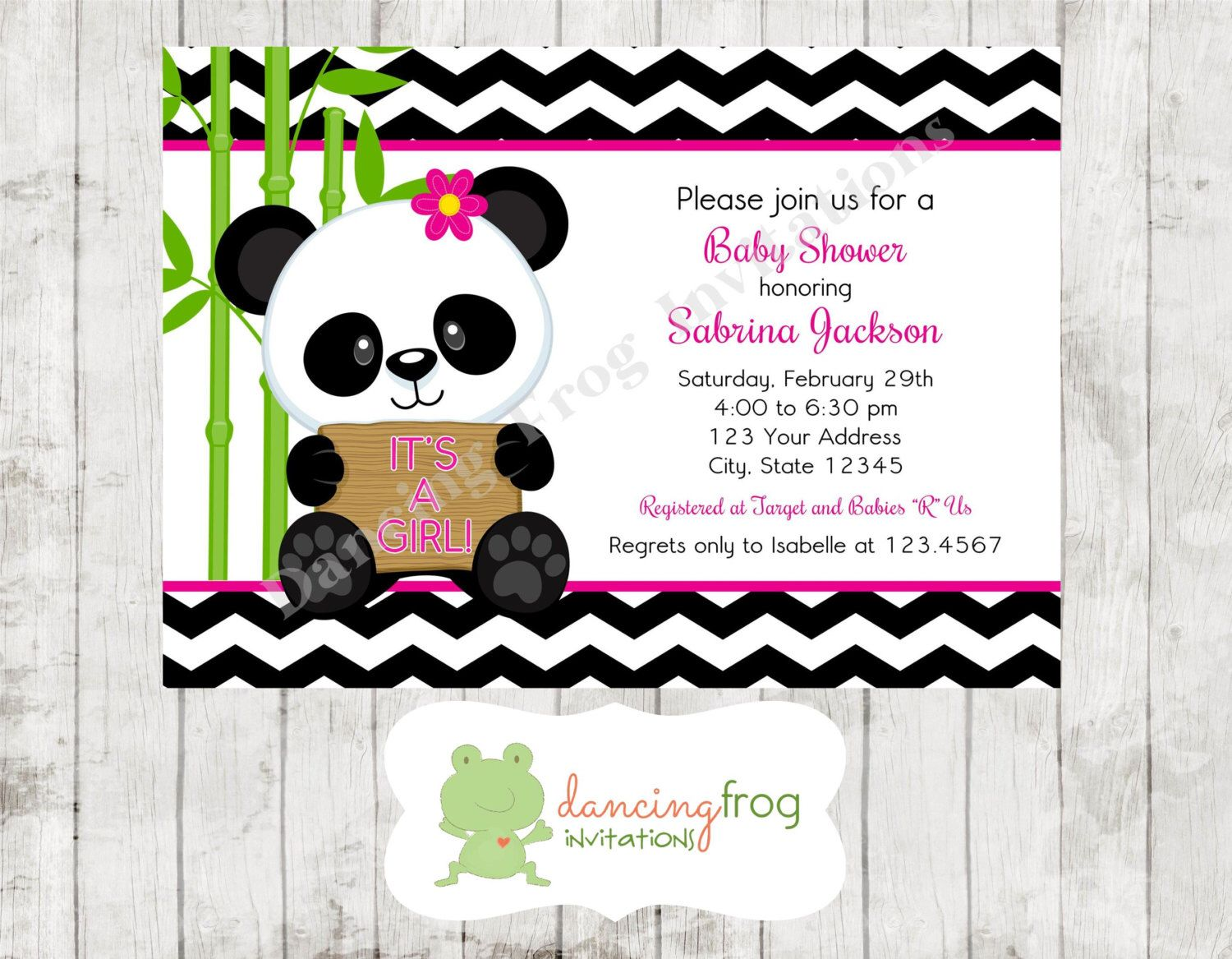 Panda Bear Pink or Blue Baby Shower Invitations - Printed Panda Baby ...