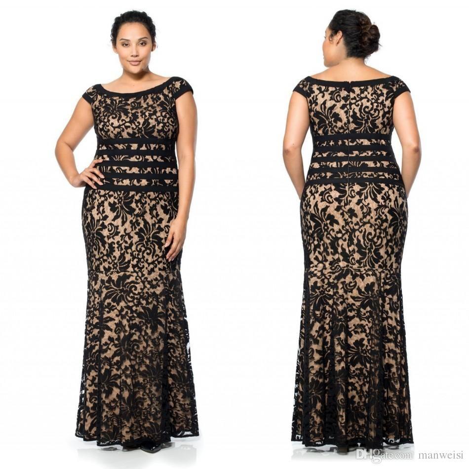 Floor length plus size prom dresses short sleeves scoop neck full