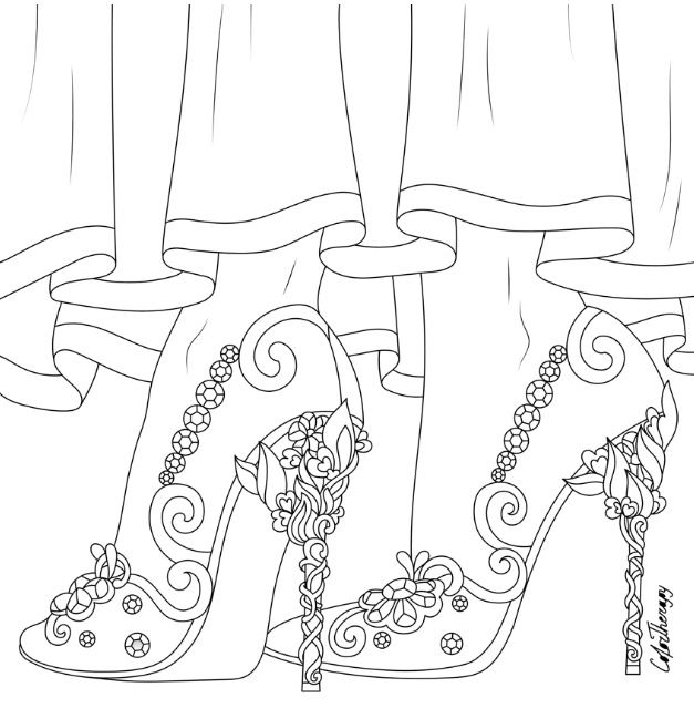 Coloring pages for adults app ~ Beautiful wedding shoes to color using Color Therapy App ...