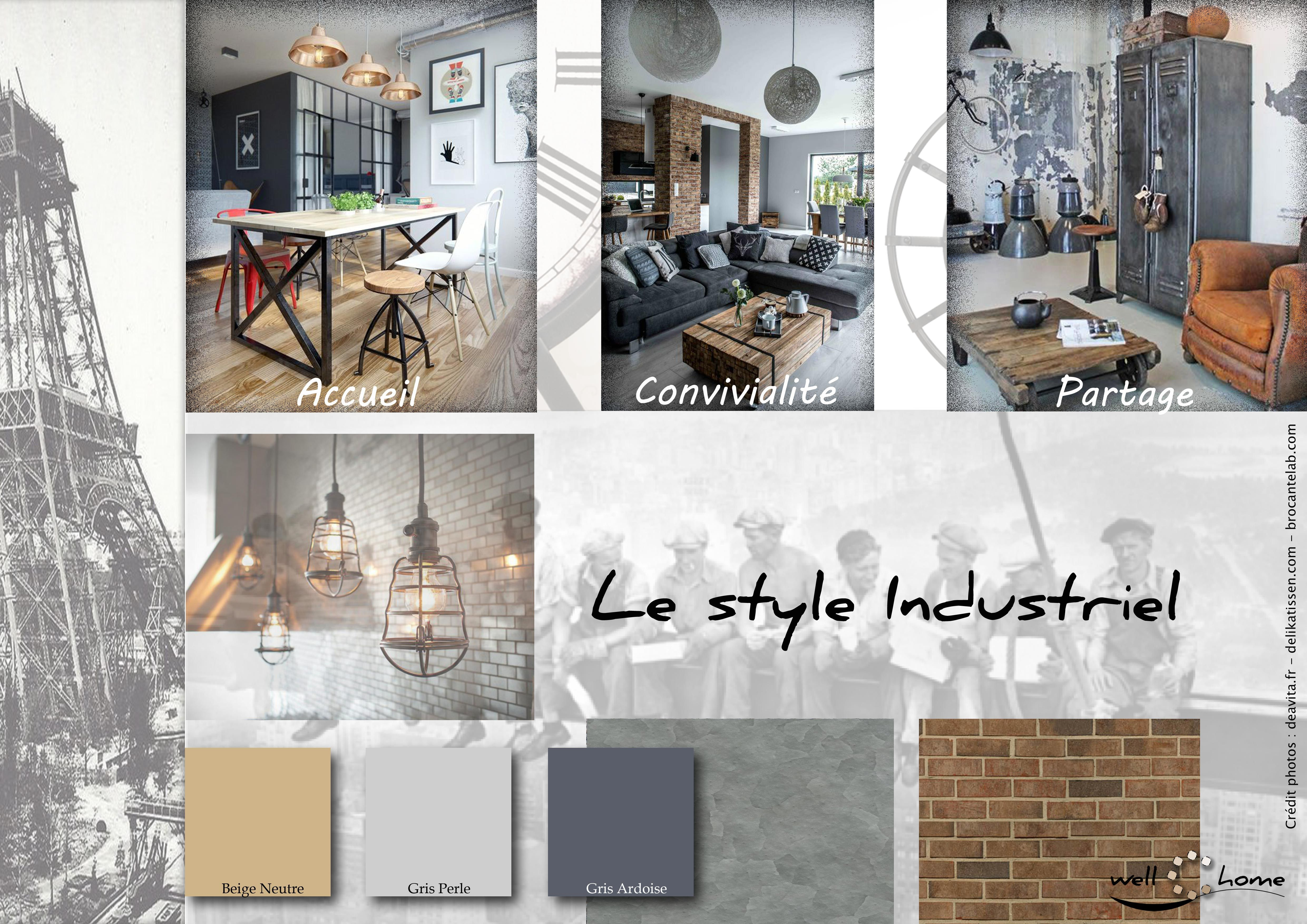 moodboard deco planche d ambiance tendance style industriel realisation well c home