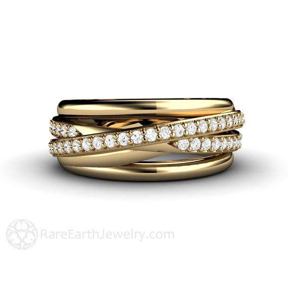 Diamond Ring Triple Band Multi Rolling Wedding Anniversary Or Gold