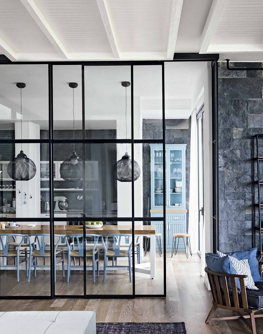Modern Monochrome Kitchen Diner With Blue Chairs And Pendant Lights