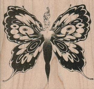 Wood Mounted Stamp Inkadinkado Insect Rubber Stamp Butterfly Rubber Stamp