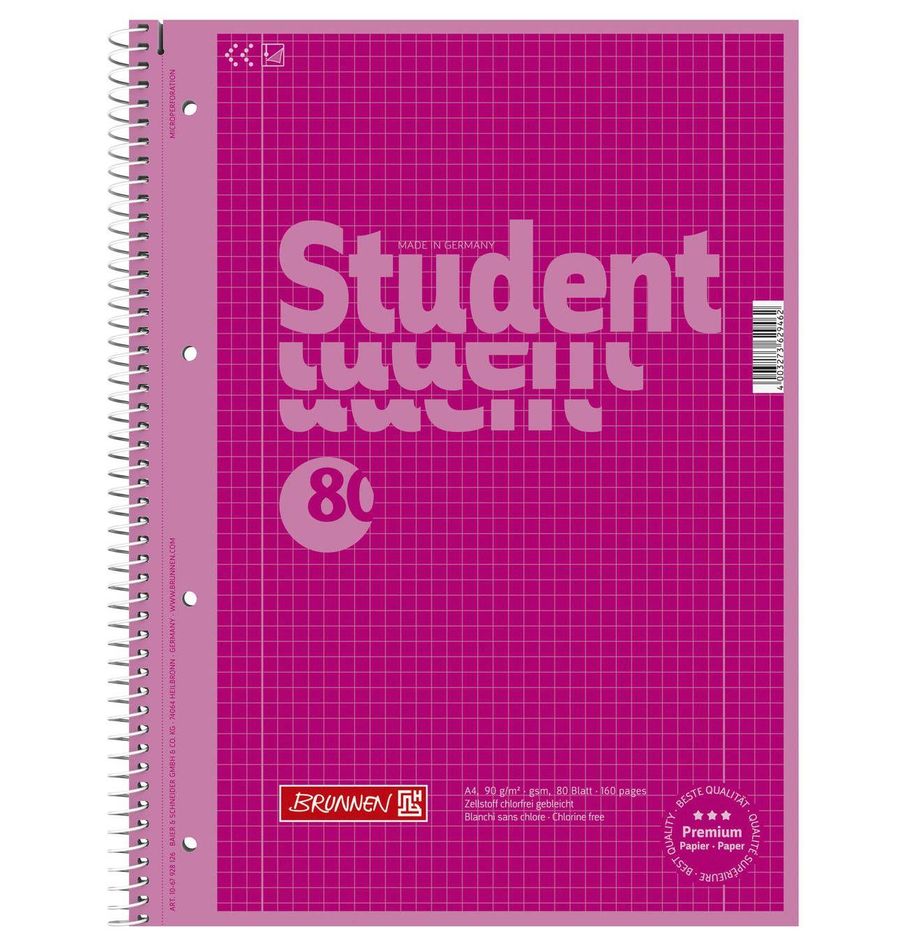 Brunnen Collegeblock A4 Kariert Lin 28 Pink Lin 28 Kariert