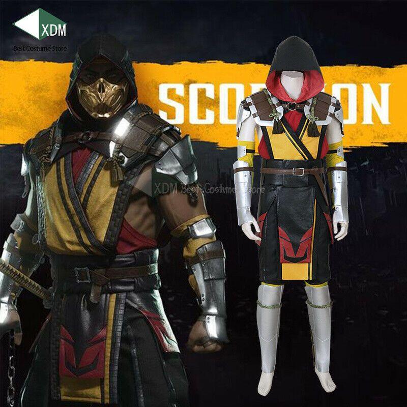 Mortal Kombat 11 Scorpion Cosplay Costume Mk 11 Mask Prop Suits
