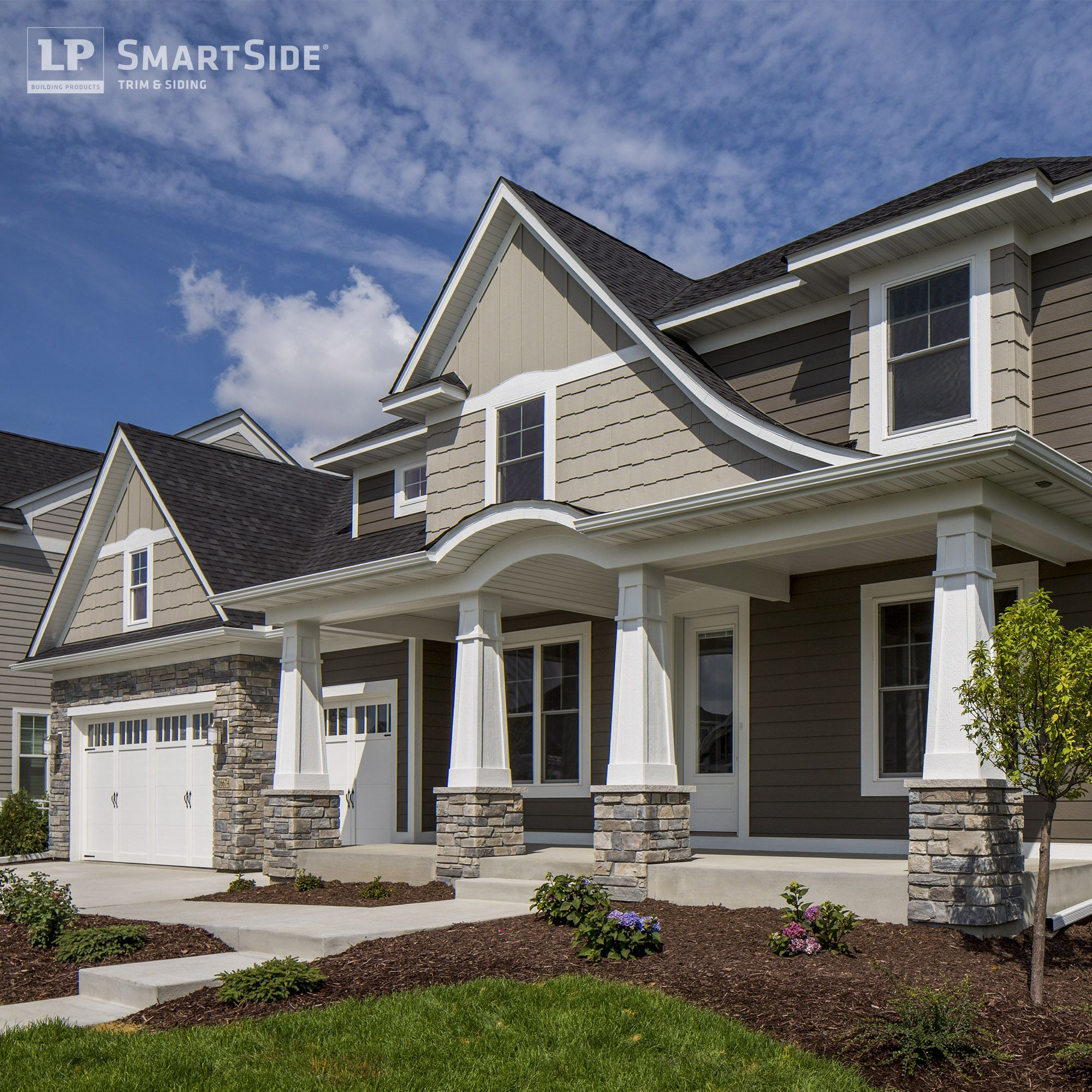 Multiple styles of lp smartside siding stone cladding for Lp smartside prefinished siding colors