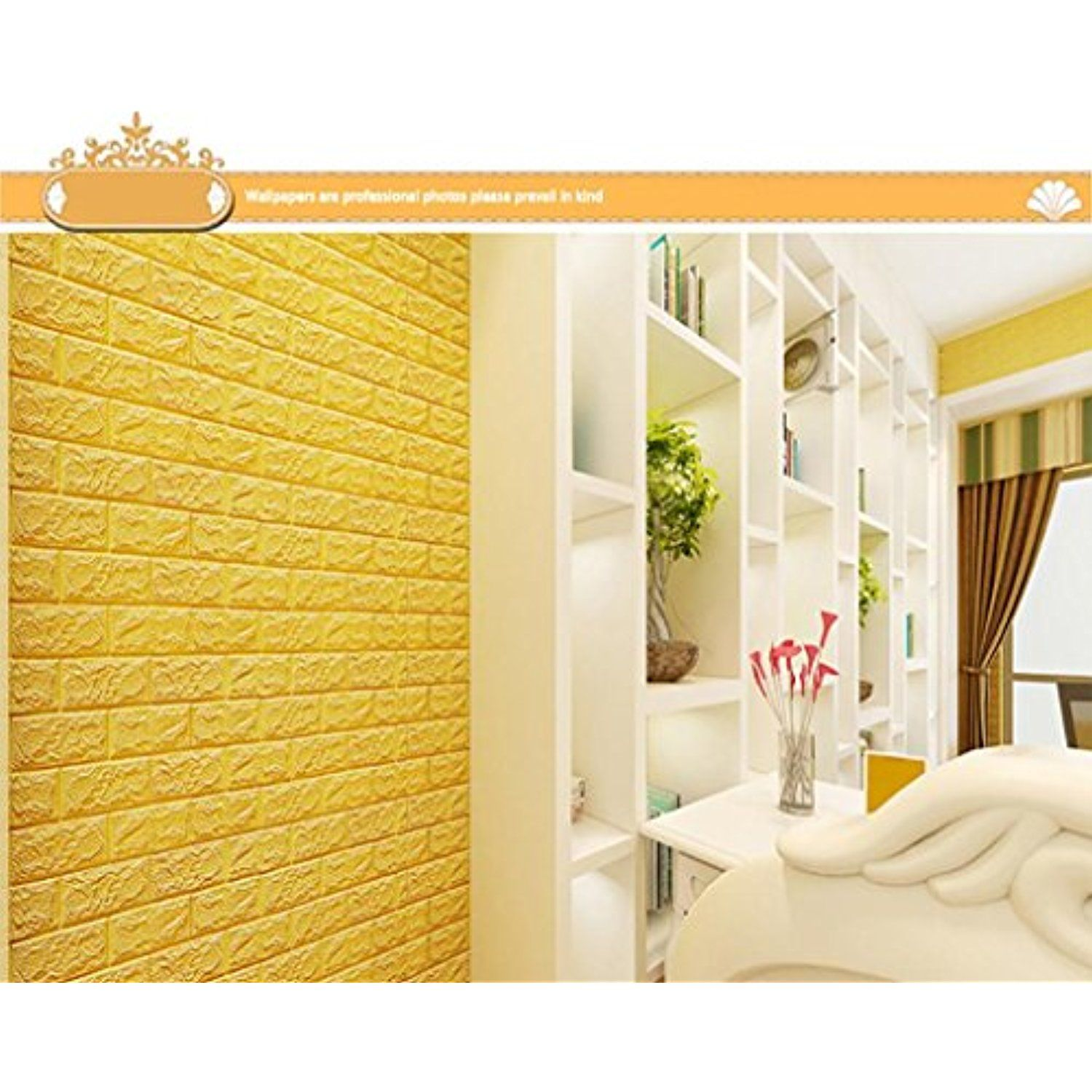 Wall Decal,3D Brick Wall Sticker Self-Adhesive Foam Wallpaper ...