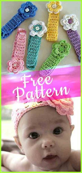 Crochet Pattern Baby Headbands #babycrochet #freepattern #crochetpatterns #babyheadbands