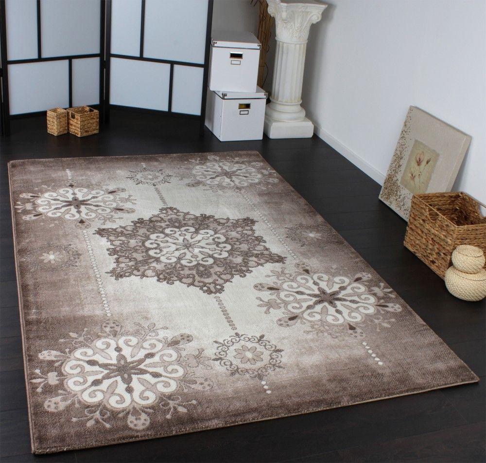 designer teppich lurex klassich gemustert glitzer teppich beige braun creme home ideas. Black Bedroom Furniture Sets. Home Design Ideas
