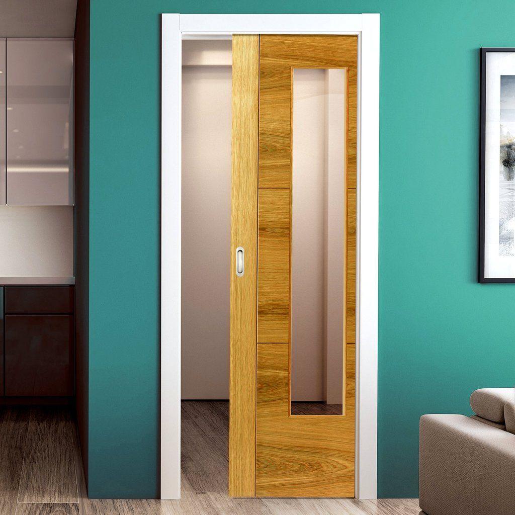 Brisa Mistral Oak Single Pocket Door Clear Glass Prefinished