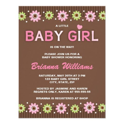 Pink And Brown Floral Girl Baby Shower Invitation Pink Babies And