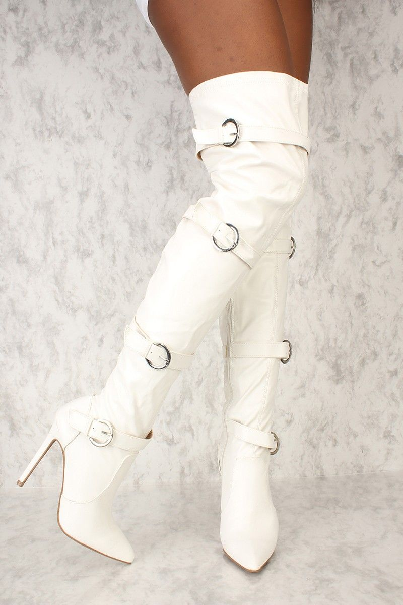 d928f035f6e Sexy White Strappy Thigh High Boots Pointy Toe Faux Leather