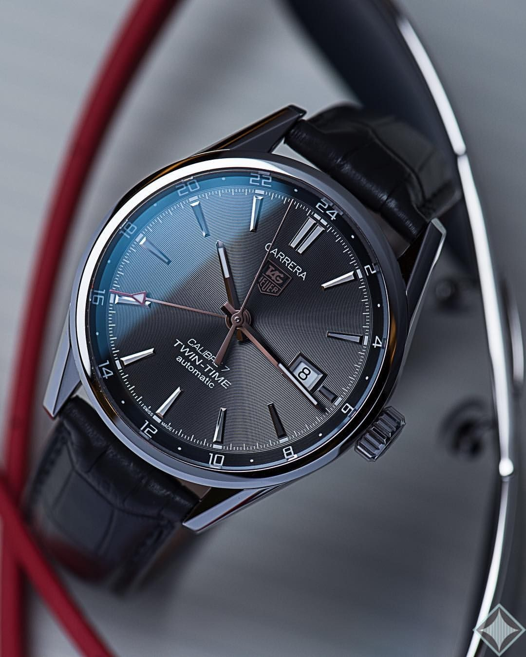 Tag heuer Carrera calibre 7 twin time with 41mm anthracite ...