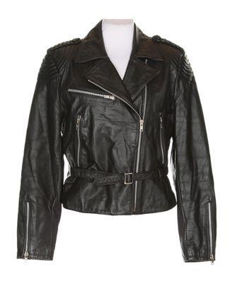 80s Berman's Black Leather Biker Jacket - L