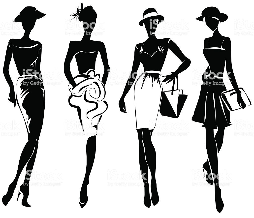 Black And White Retro Fashion Models In Sketch Style Hand Drawn Fashion Vector Retro Fashion Fashion Illustration Sketches
