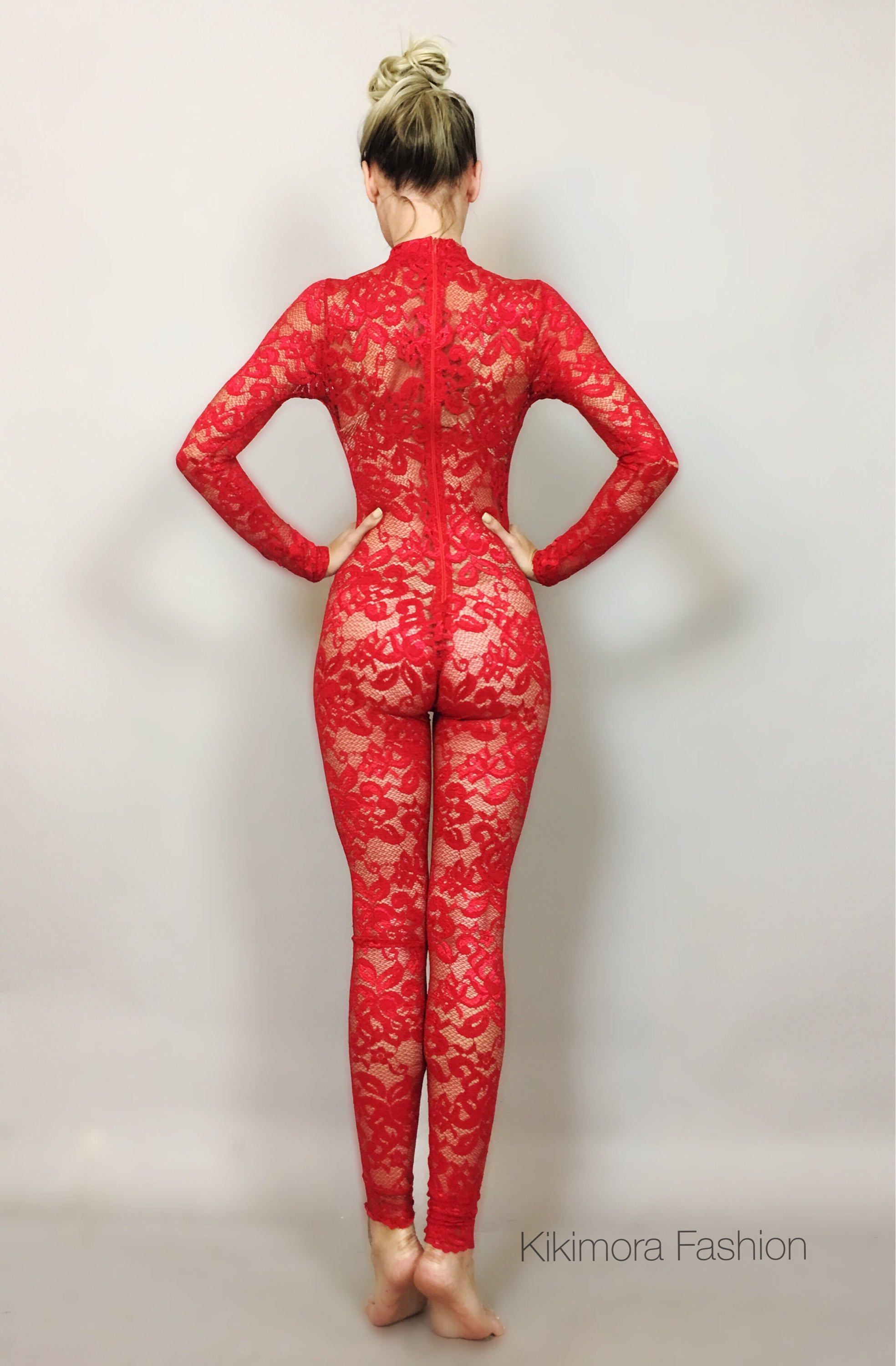 Lipstick red Lace catsuit, bodysuit, unitard, jumpsuit ...