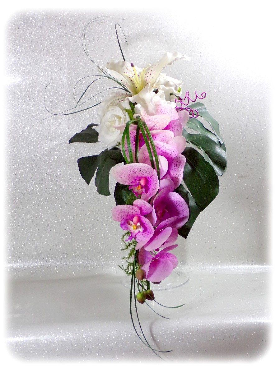 bouquet de mariée cascade orchidée lys rose et blanc - bouquet de