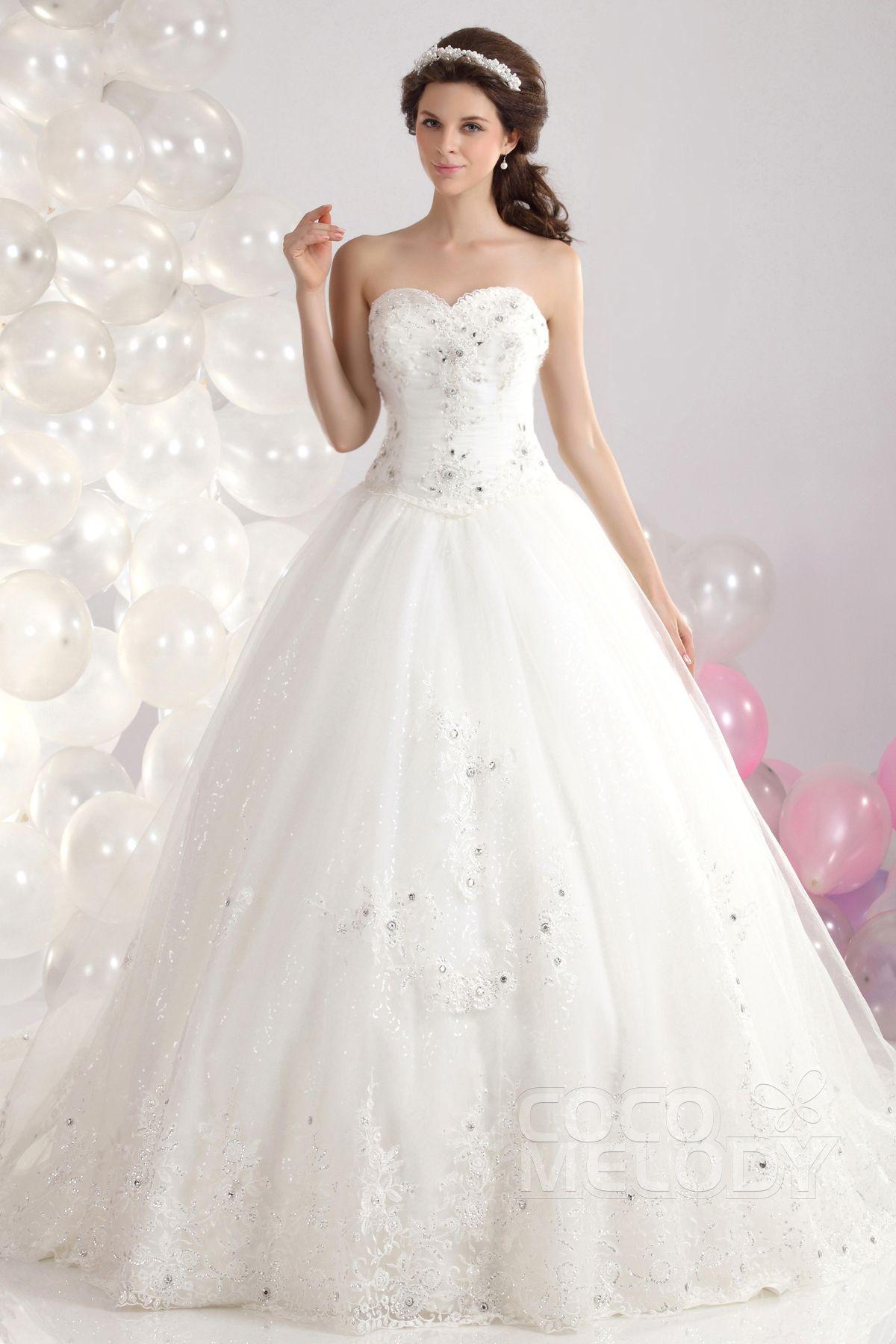 Wedding dresses ball gown sweetheart  Fantastic Ball Gown Sweetheart Chapel Train Tulle Wedding Dress