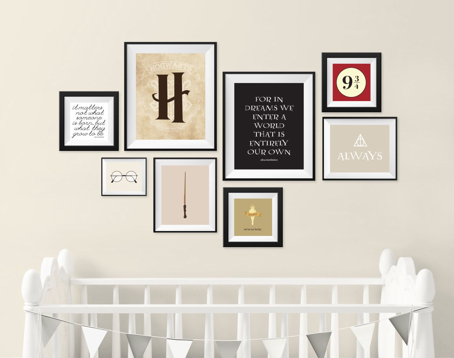Harry potter nursery gallery wall art print set of 8 digital prints kids room gallery