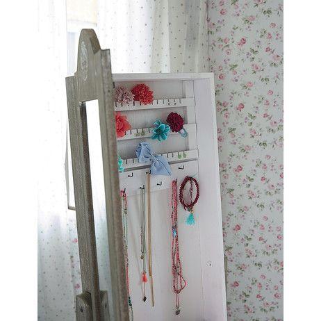 Miroir psyché porte-bijoux en bois de paulownia blanchi H 160 cm ...