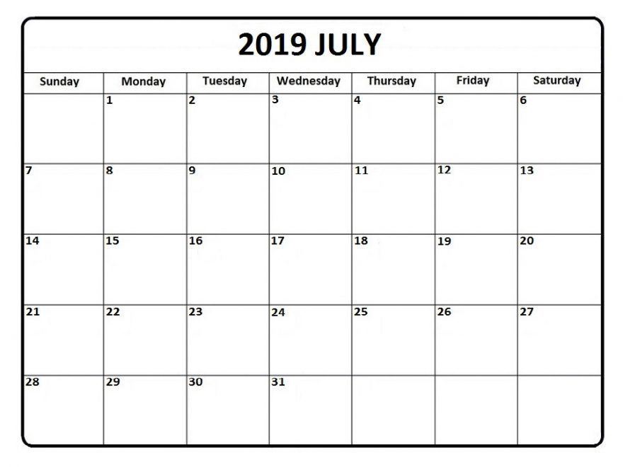 Free Printable July 2020 Calendar Template With Notes Pdf Word