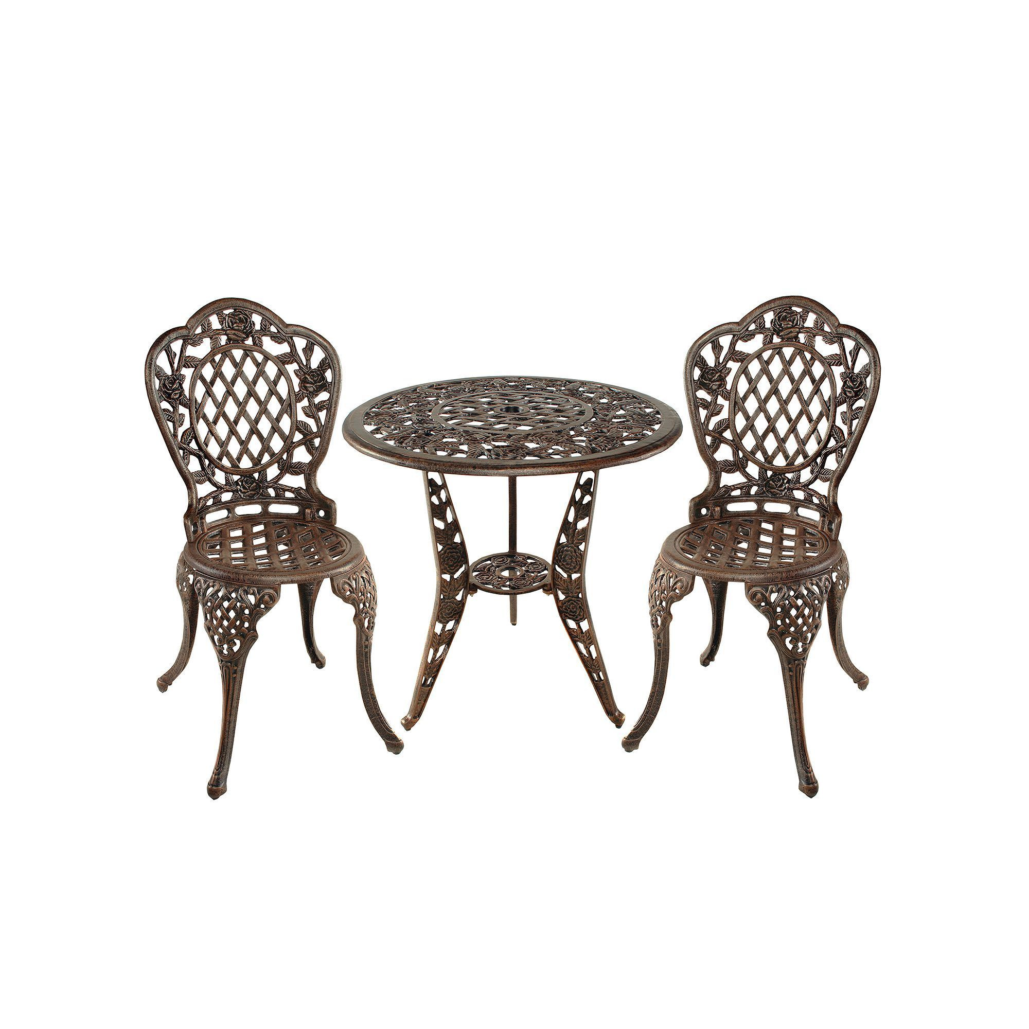 Tea Rose Cast Aluminum Outdoor Bistro 3 Piece Set Products