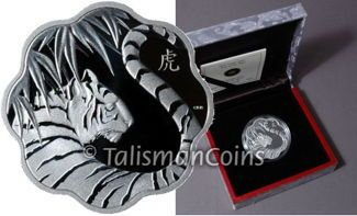 Canada 2010 Year of the Tiger Chinese Lunar Zodiac $15 Lotus Shaped Silver Proof