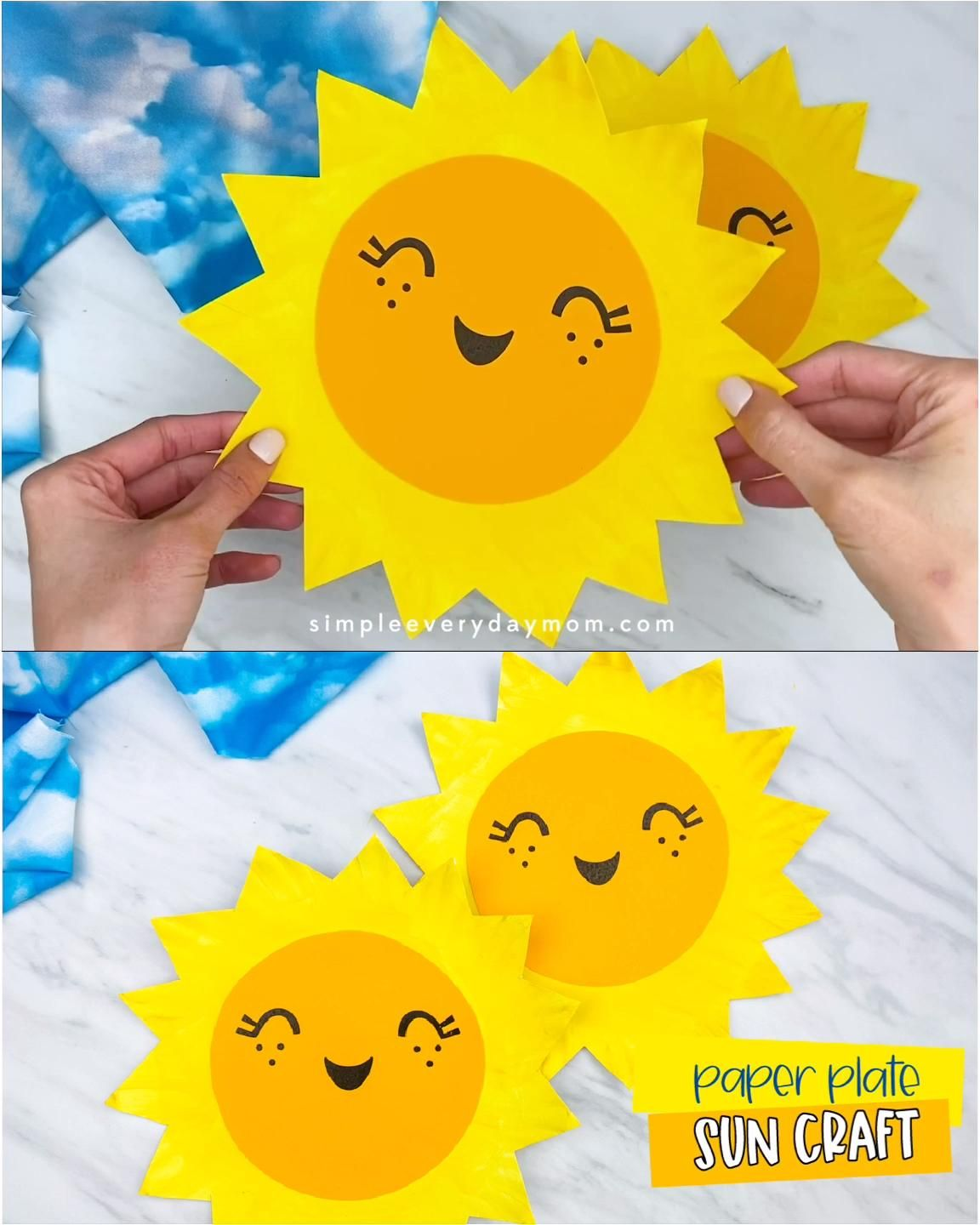 This easy paper plate sun for kids is a fun summer craft idea! Kids of all ages, from toddlers, to preschool, prek and kindergarten will love making this project. Download the free template and make your own at home or at school.  #simpleeverydaymom #paperplatecrafts #kidscrafts
