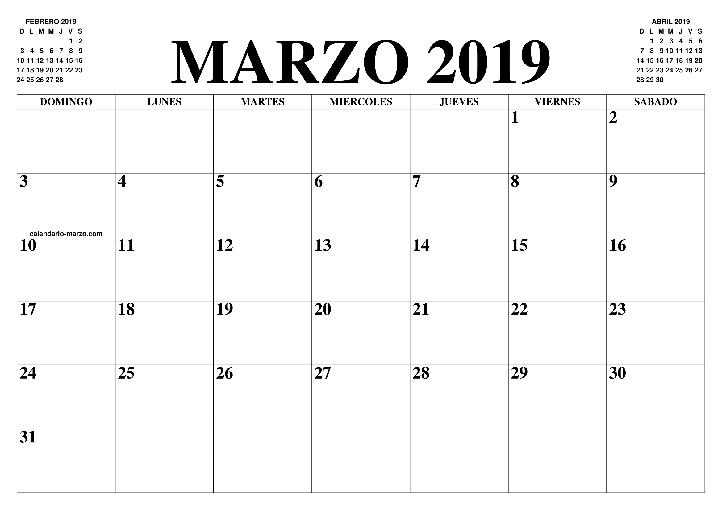 Marzo Calendario.Calendario Editable Marzo 2019 March 2019 Calendar 2019 Calendar