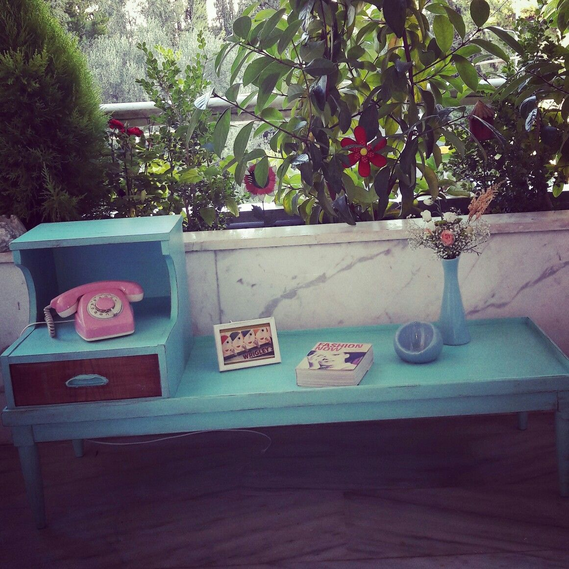 Diy mexican turquoise funky table!