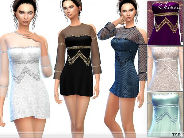 The Sims Resource: Cold Shoulder Dress by Ekinege • Sims 4 Downloads