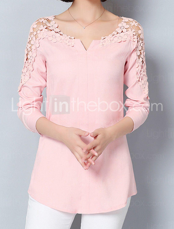 20b281039 Feminino Camisa Social Para Noite Formal Trabalho Sensual Moda de Rua  Sofisticado Todas as Estações Primavera