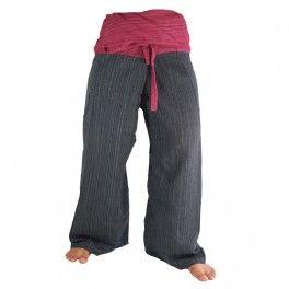 Negro, mezcla de algodón pantalones tailandeses rojo