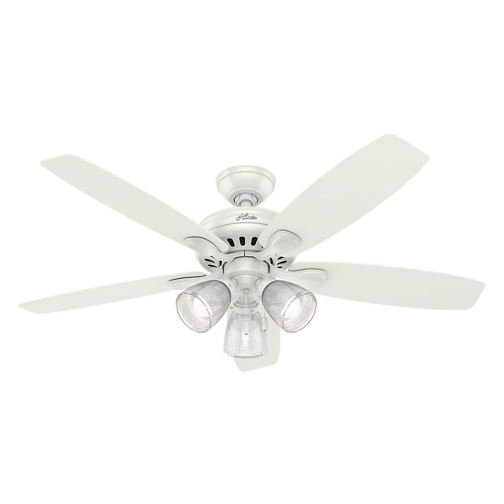 Hunter Highbury Ii 52 In Led Indoor Fresh White Ceiling Fan 52029 The Home Depot Ceiling Fan With Light White Ceiling Fan Ceiling Fan