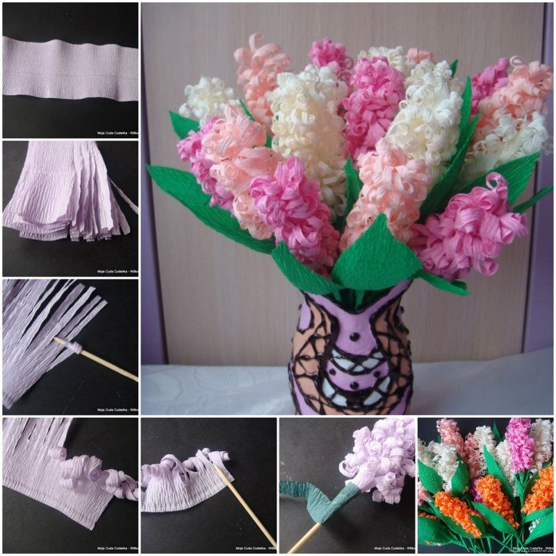 DIY Beautiful Crepe Paper Hyacinth Flower  CraftSmile is part of Paper crafts diy - Get inspired by DIY Beautiful Crepe Paper Hyacinth Flower  Discover the world's best crafts tutorials and creative DIY ideas on Craftsmile com  Happy Crafting!
