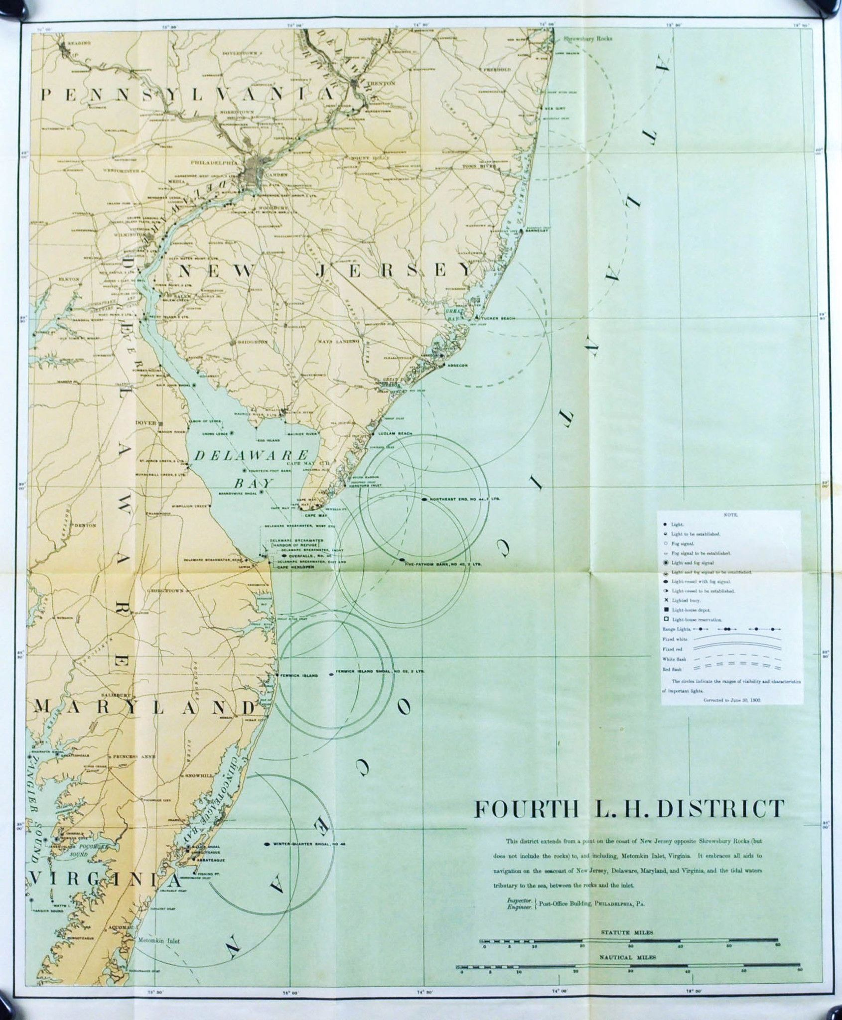 Lighthouse Maryland New Jersey Delaware Bay Antique Map 1900 ... on