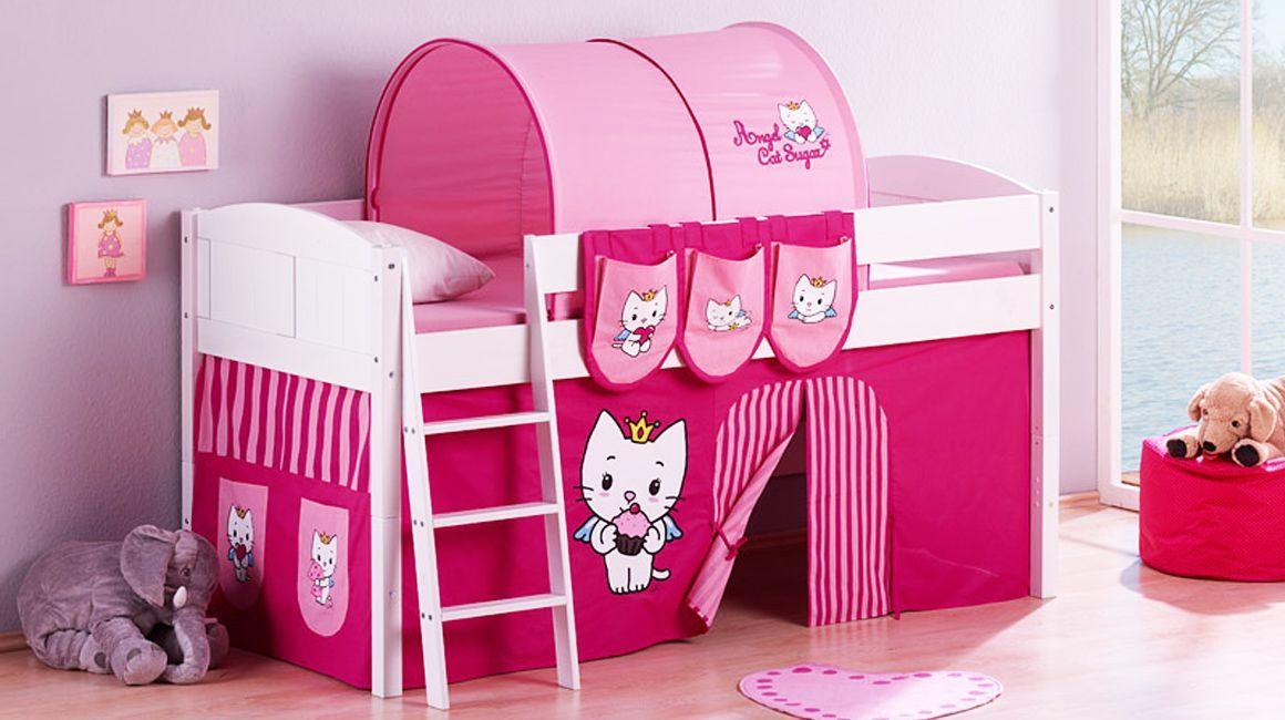 Cama Semi Alta Infantil Para Niña Con Espacio De Juego Debajo Solo 4 Días De Entrega Para Más Detalles Visi Loft Bed Curtains Kid Beds Cabin Bed With Storage