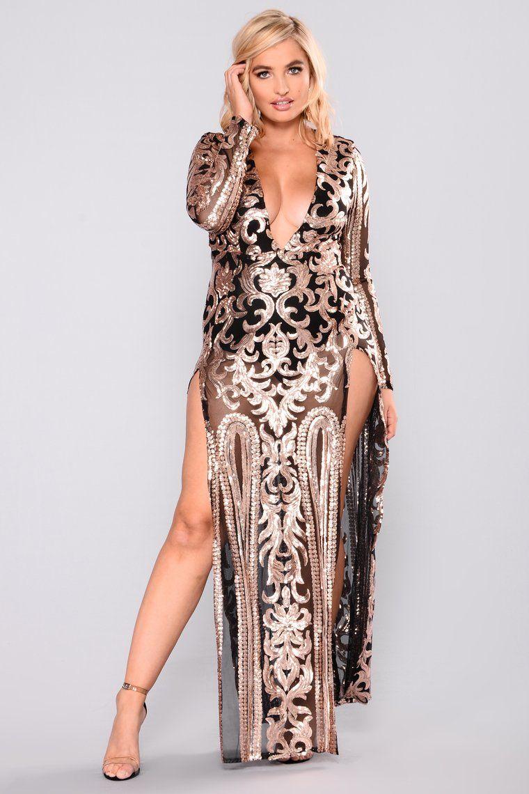Queen Of Spades Sequin Dress Black/Rose Black sequin