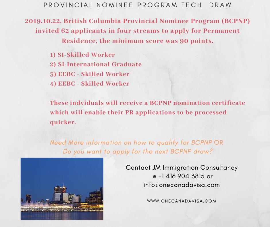 British Columbia New BC PNP Tech Pilot Draw British