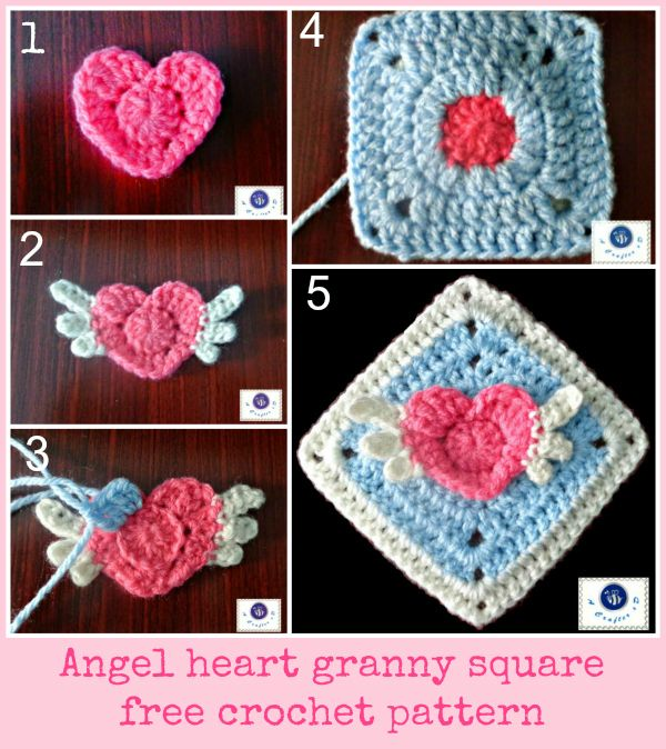 Angel heart granny square #freecrochetpattern | Para hacer ...