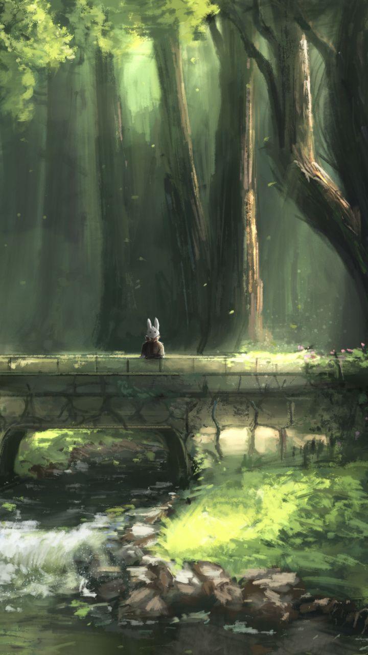 bunny  bit lost  forest  bridge wallpaper