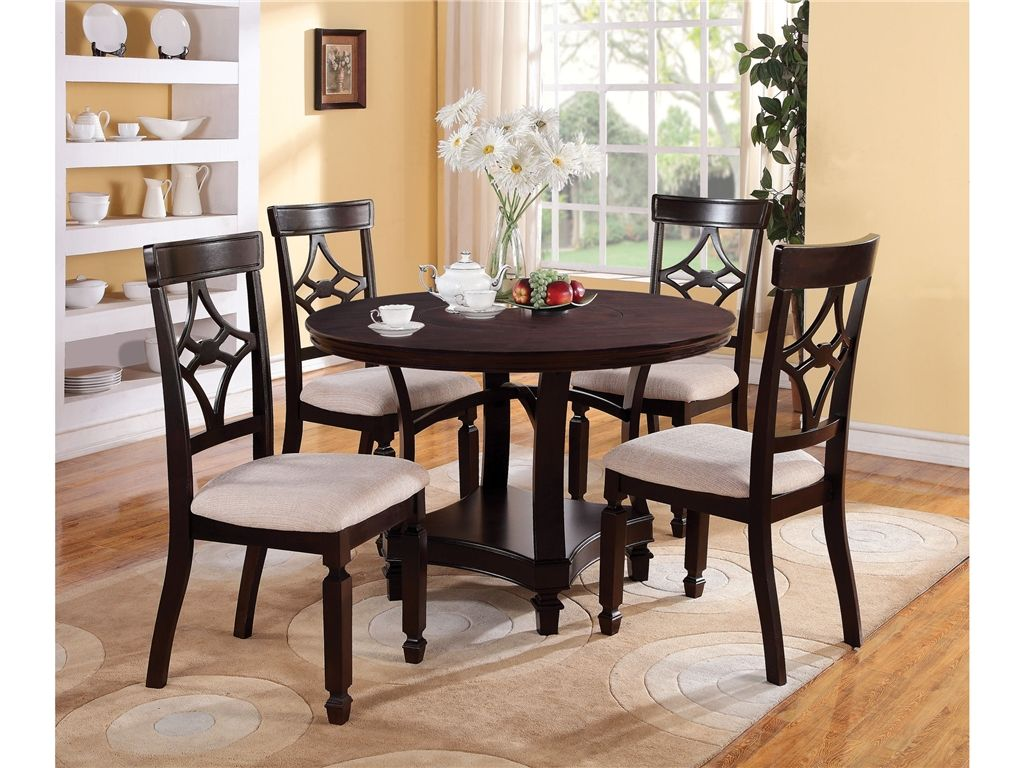 Coaster dining room round dining table americana furniture