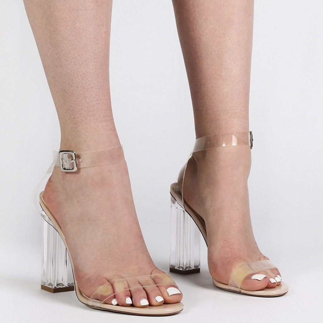 f0470aaa10b Alia Strappy Clear Perspex High Heels in Nude | Pretty toes | Heels ...