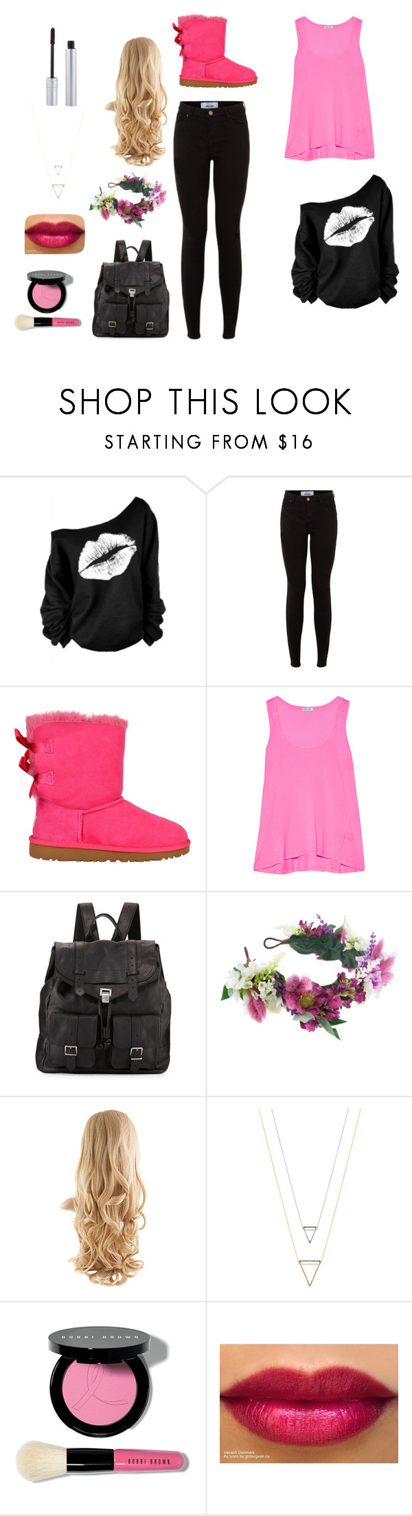 """pink and black"" by peterson-johannah on Polyvore featuring UGG Australia, Splendid, Proenza Schouler, Rock 'N Rose, Bobbi Brown Cosmetics, T. LeClerc, uggs and polyvorefashion"