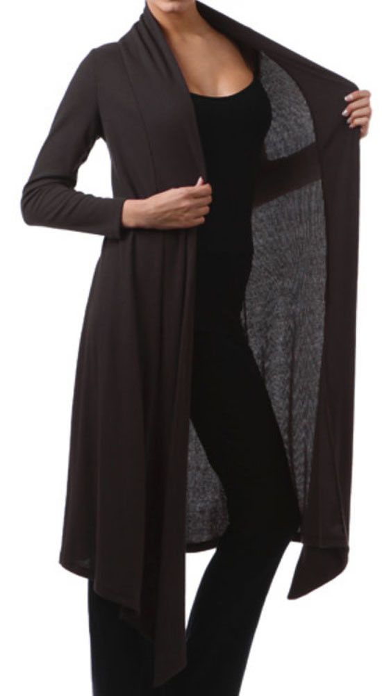 Women Plus Size Gothic Black Ribbed Long Cardigan Duster Sweater ...