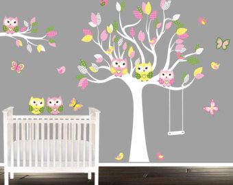 S Owl Wall Decals Nursery Decal Tree Wandtattoo Eule