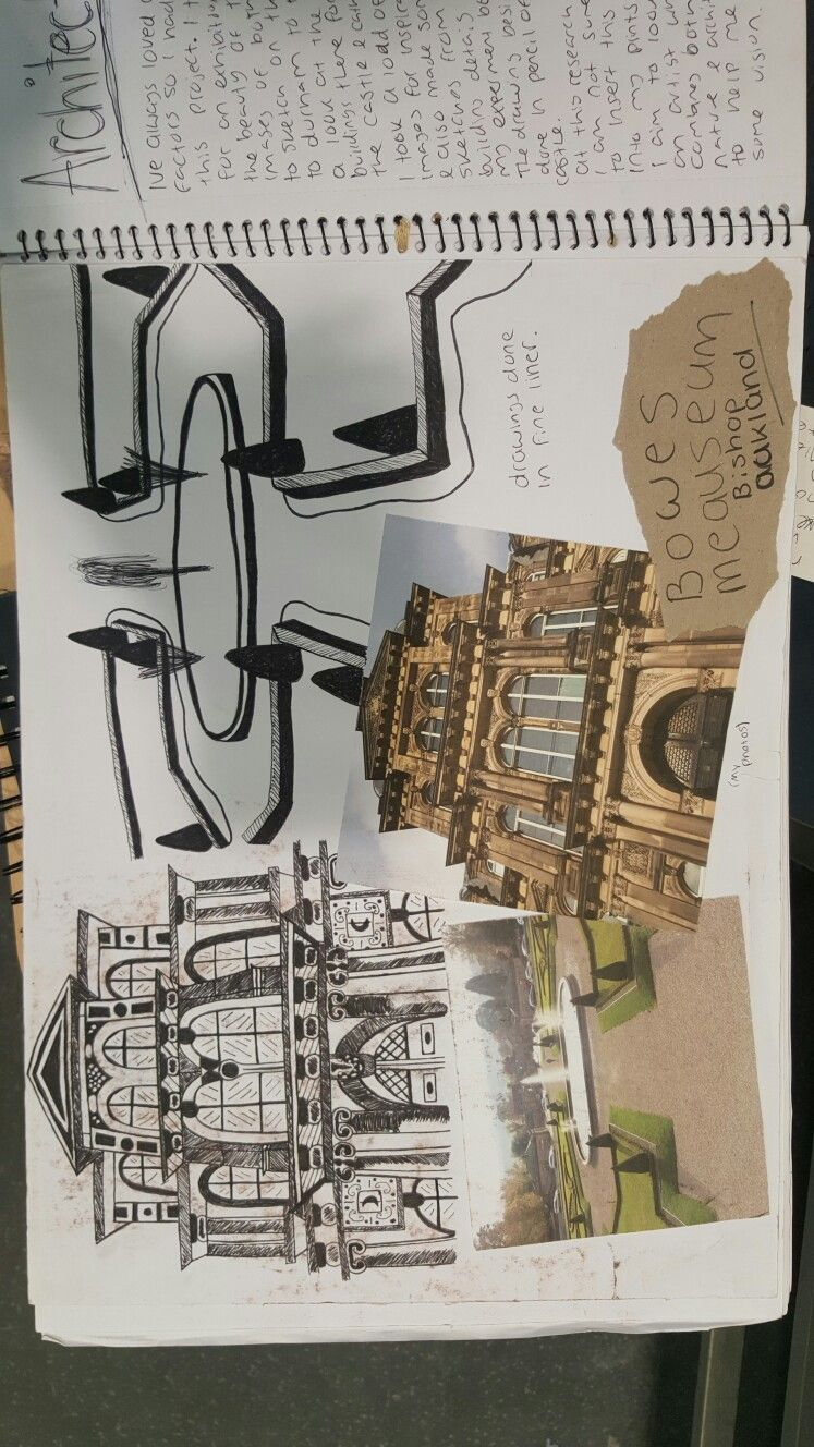 Symmetrical architecture research page. Looking at bowes museum. Pen sketches of the building and garden layout.