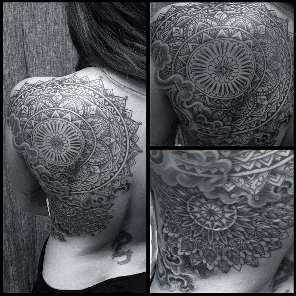Tattooing Art By Yoni Zilber: Black And Grey Large Mandala Tattoo Done At